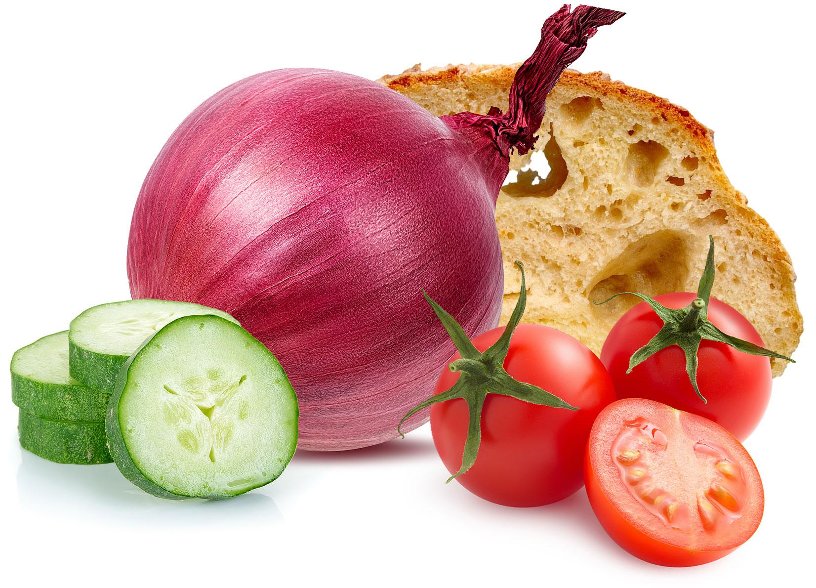 Food lunch idee ricette pane panzanella pomodori cipolla